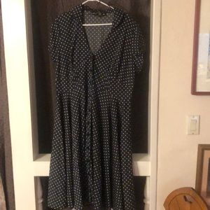 Hell Bunny gray/blue white polka dot button dress